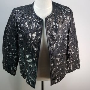 CACHE LEATHER AND LACE JACKET SIZE SMALL